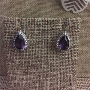 Simulated Amethyst Earrings